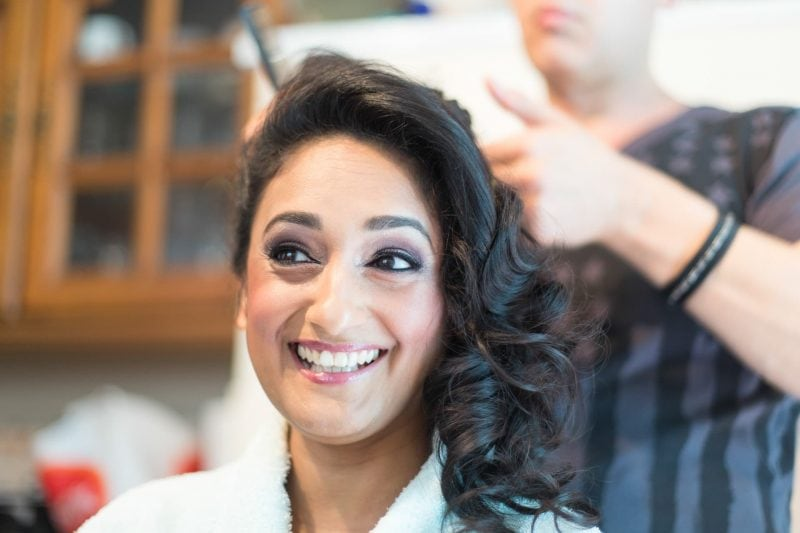 bride hair prep