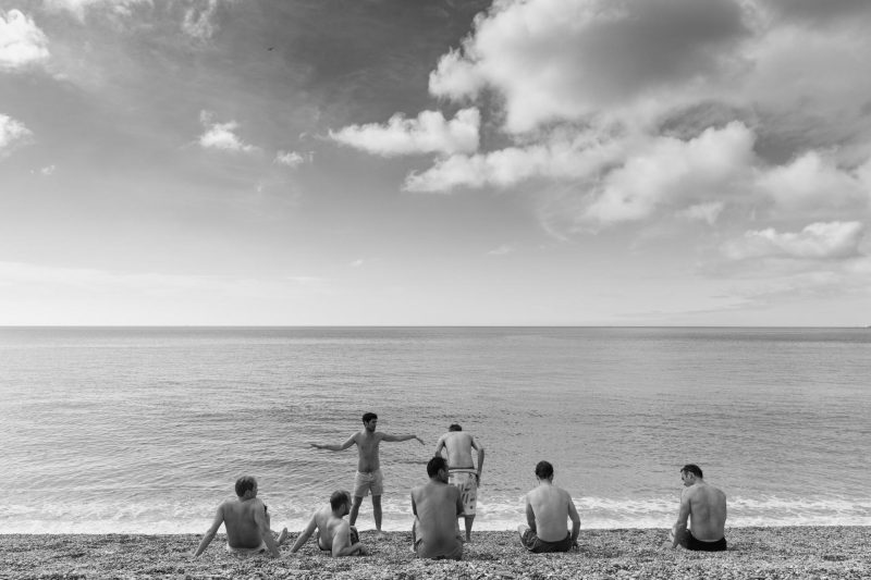 groom groomsmen at beach