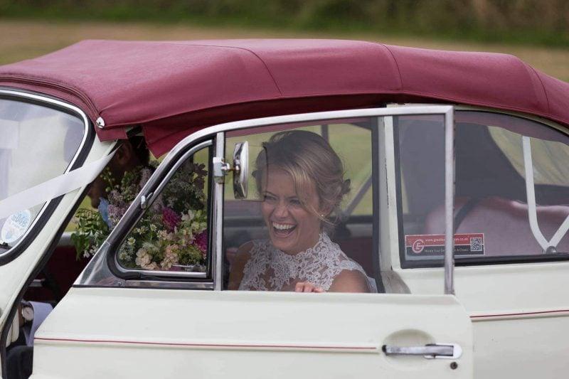 bride groom car arrival