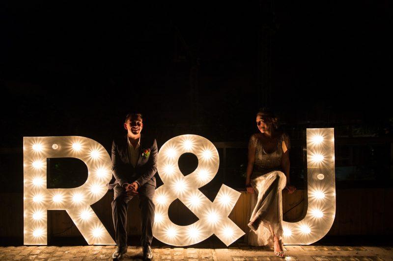 bride groom letter lights