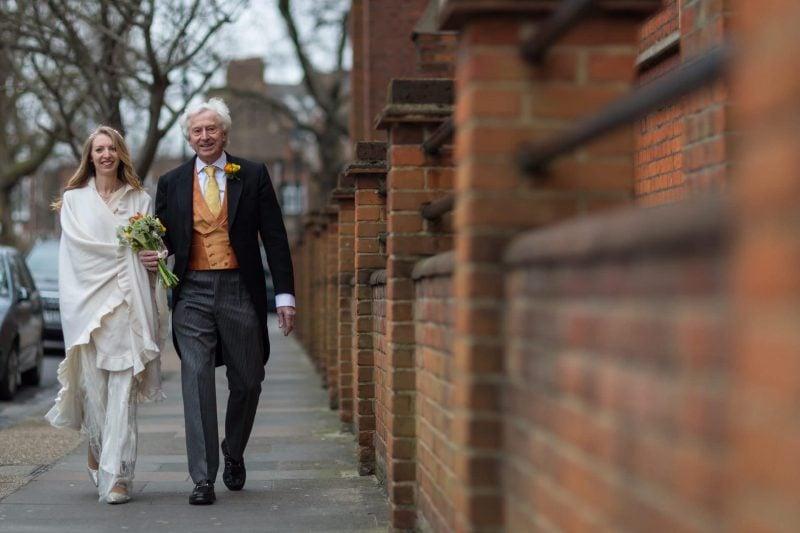 bride father walking to church