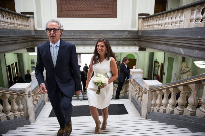bride and father islington town hall wedding