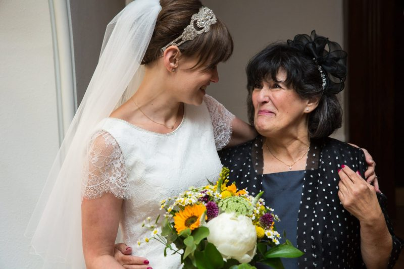 bride with emotional mother