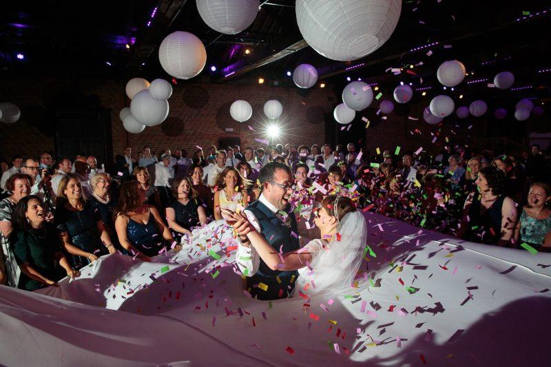 bride groom confetti jewish wedding dancing sheet
