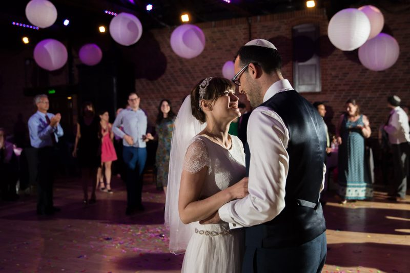 jewish wedding couple dancing