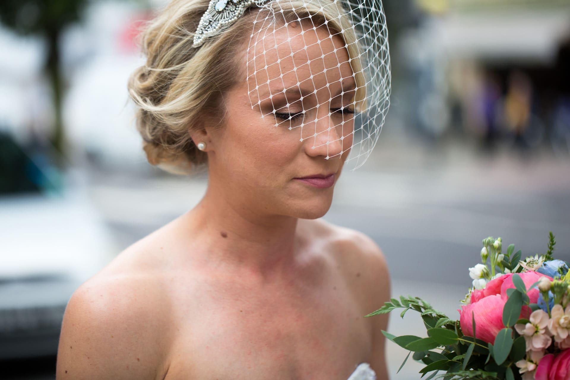 bride arrives for her wedding