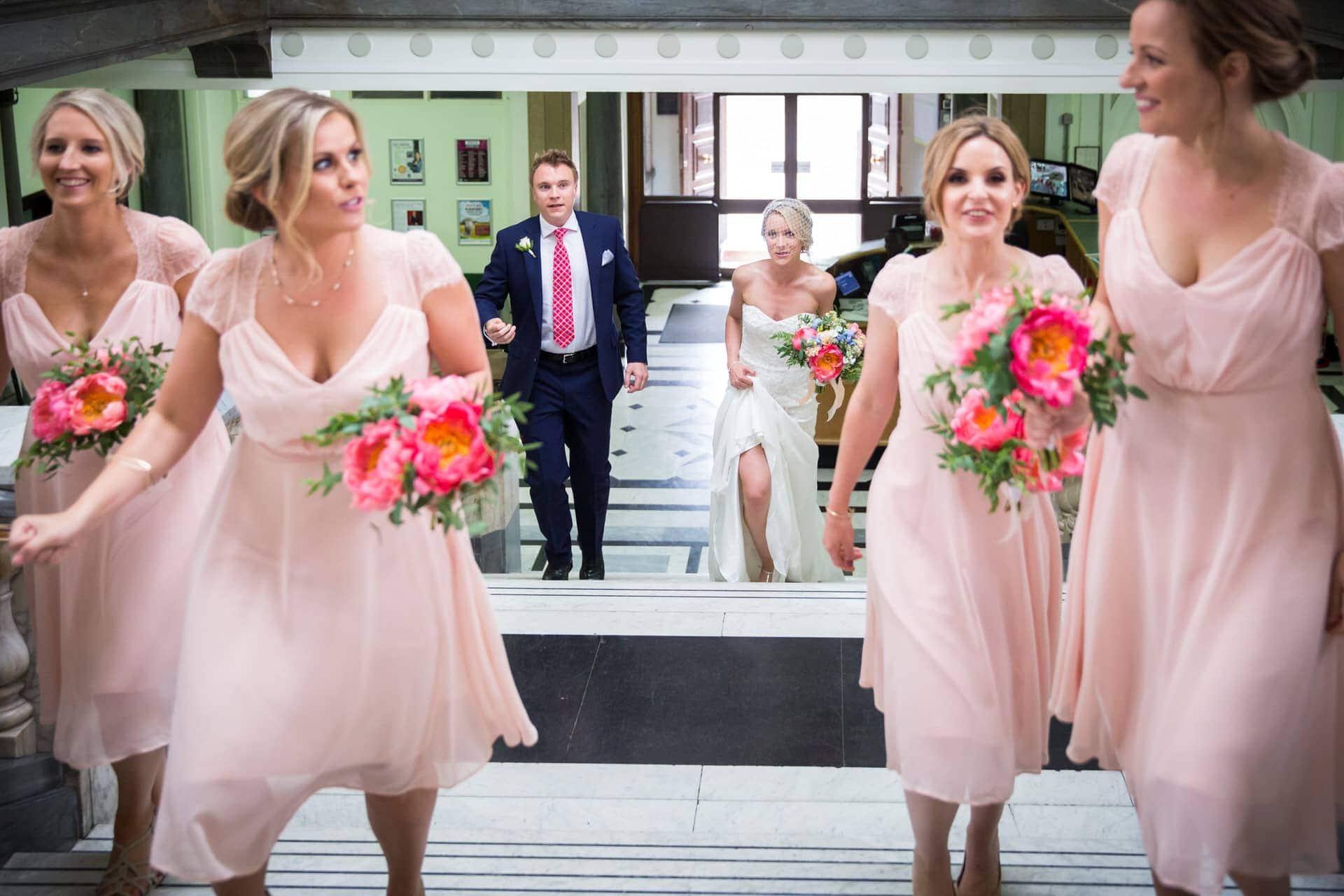 bride bridesmaids arrive islington town hall photographer