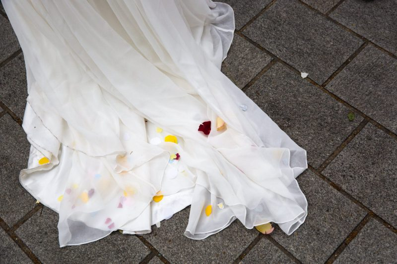 wedding dress after confetti