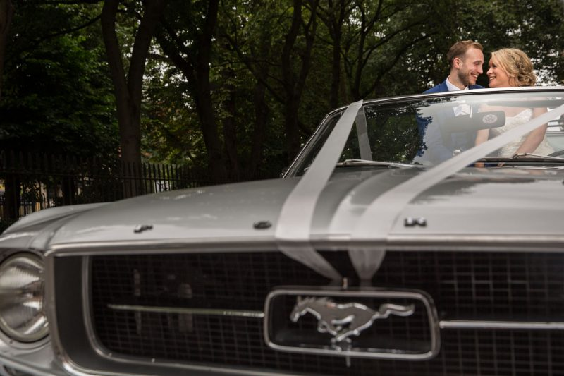 bride and groom mustang wedding car