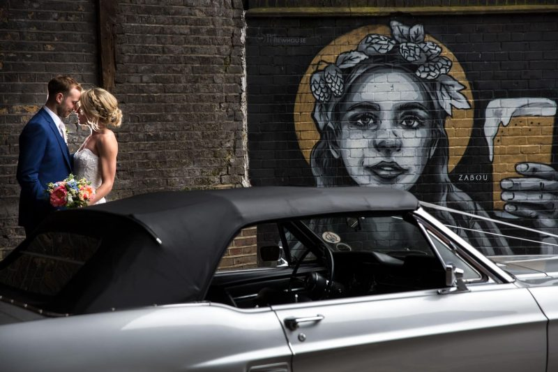 wedding couple photos mustang car street art