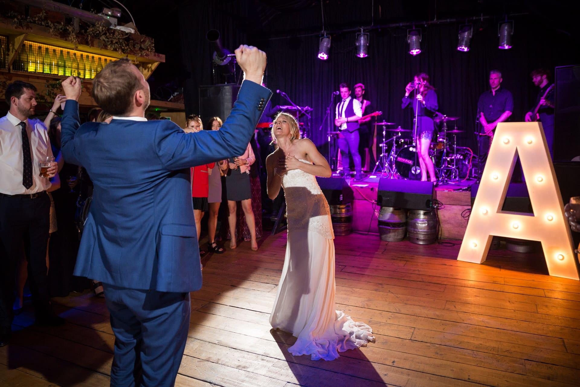 newlyweds wedding band dance