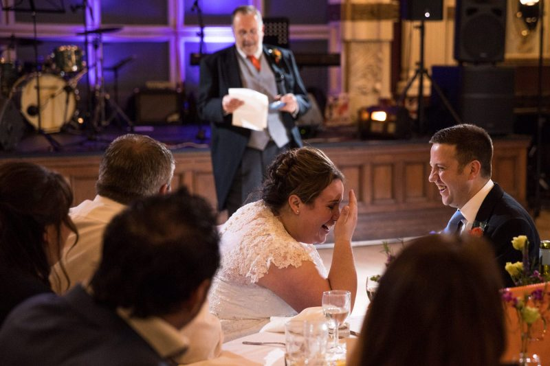 bride groom laughing speeches