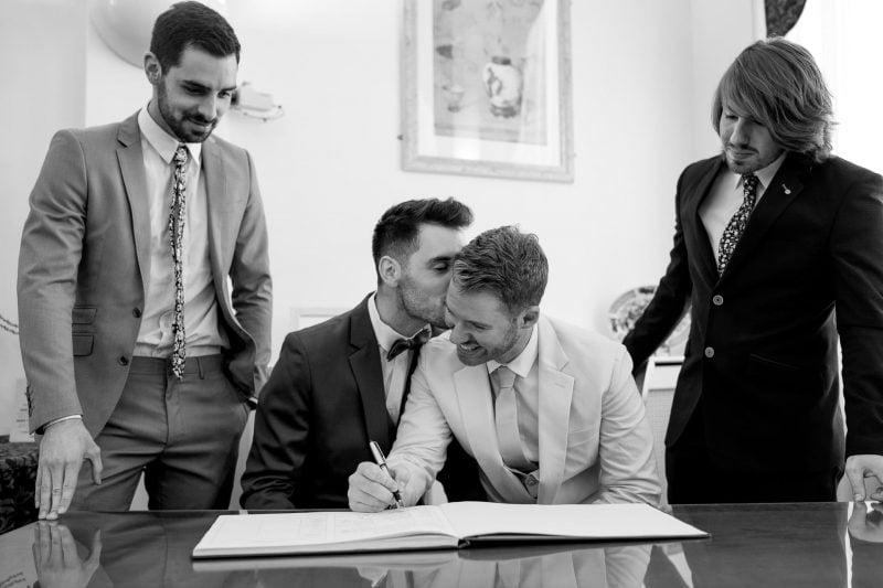 same-sex wedding register signing