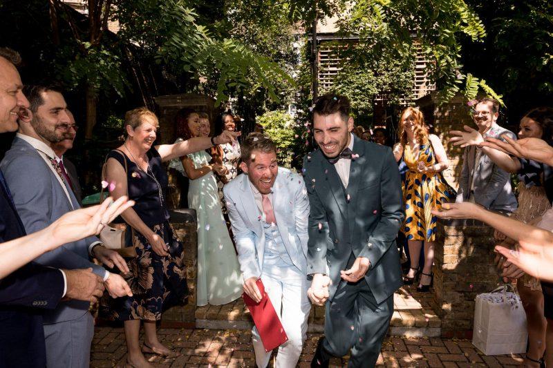 same-sex wedding confetti bow town hall