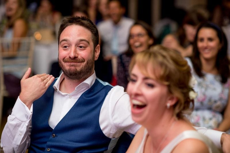 wedding speech groom reaction