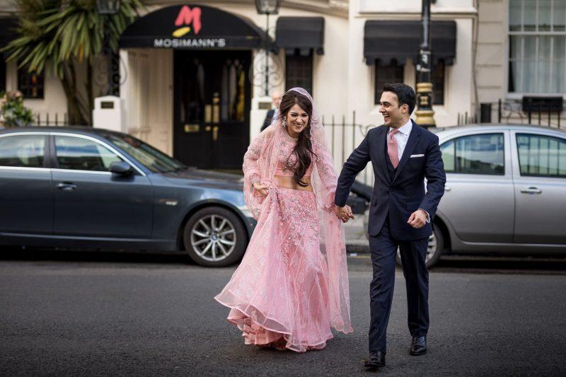 happy newlyweds outside mosimann's