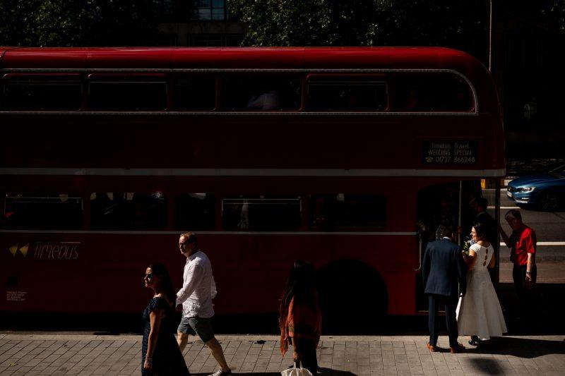 london bus bride groom