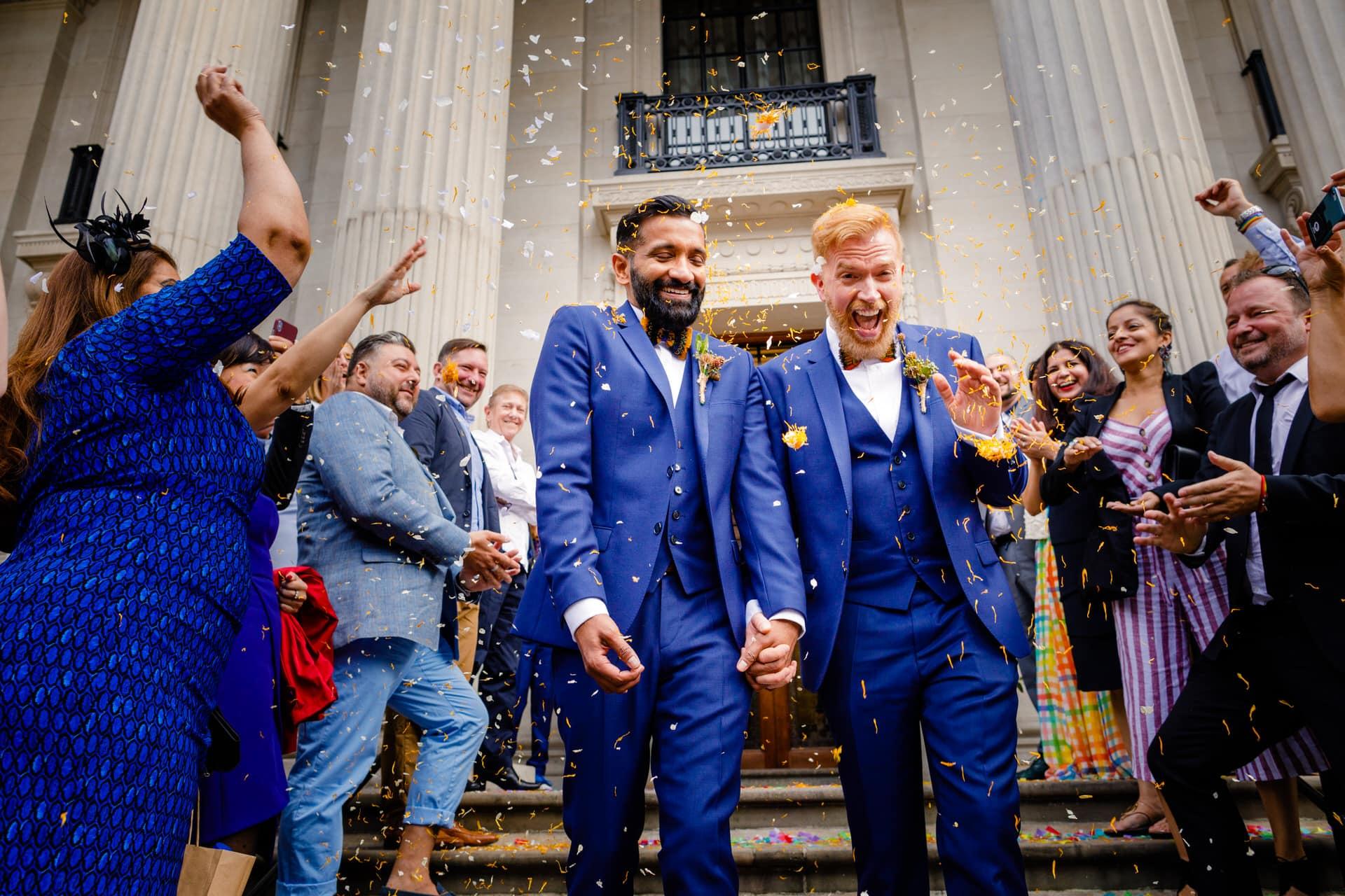 happy grooms confetti marylebone