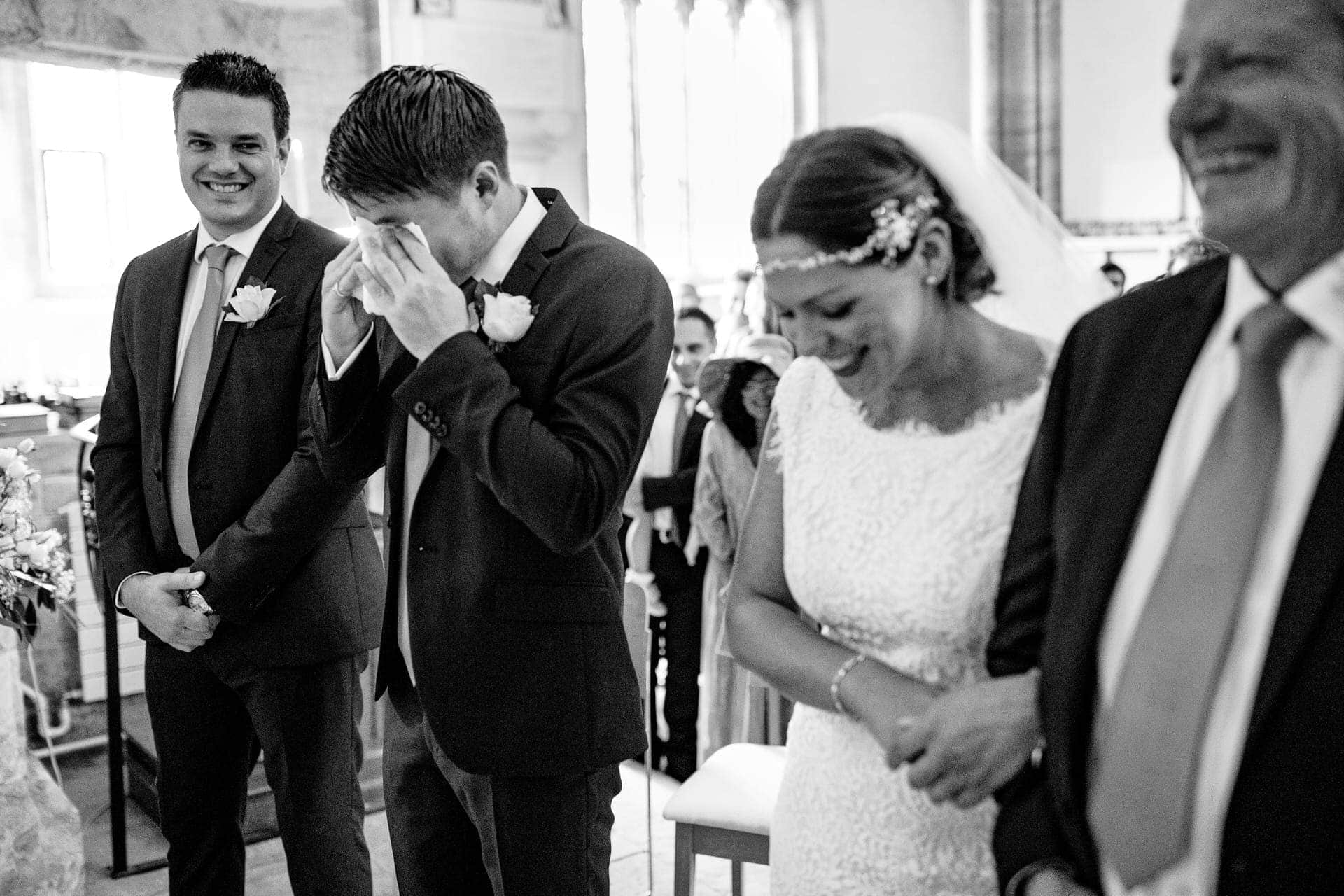 crying groom best man bride father