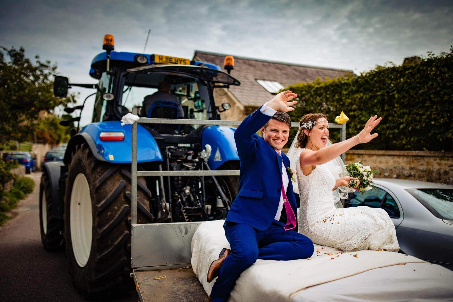 bride groom tractor exit