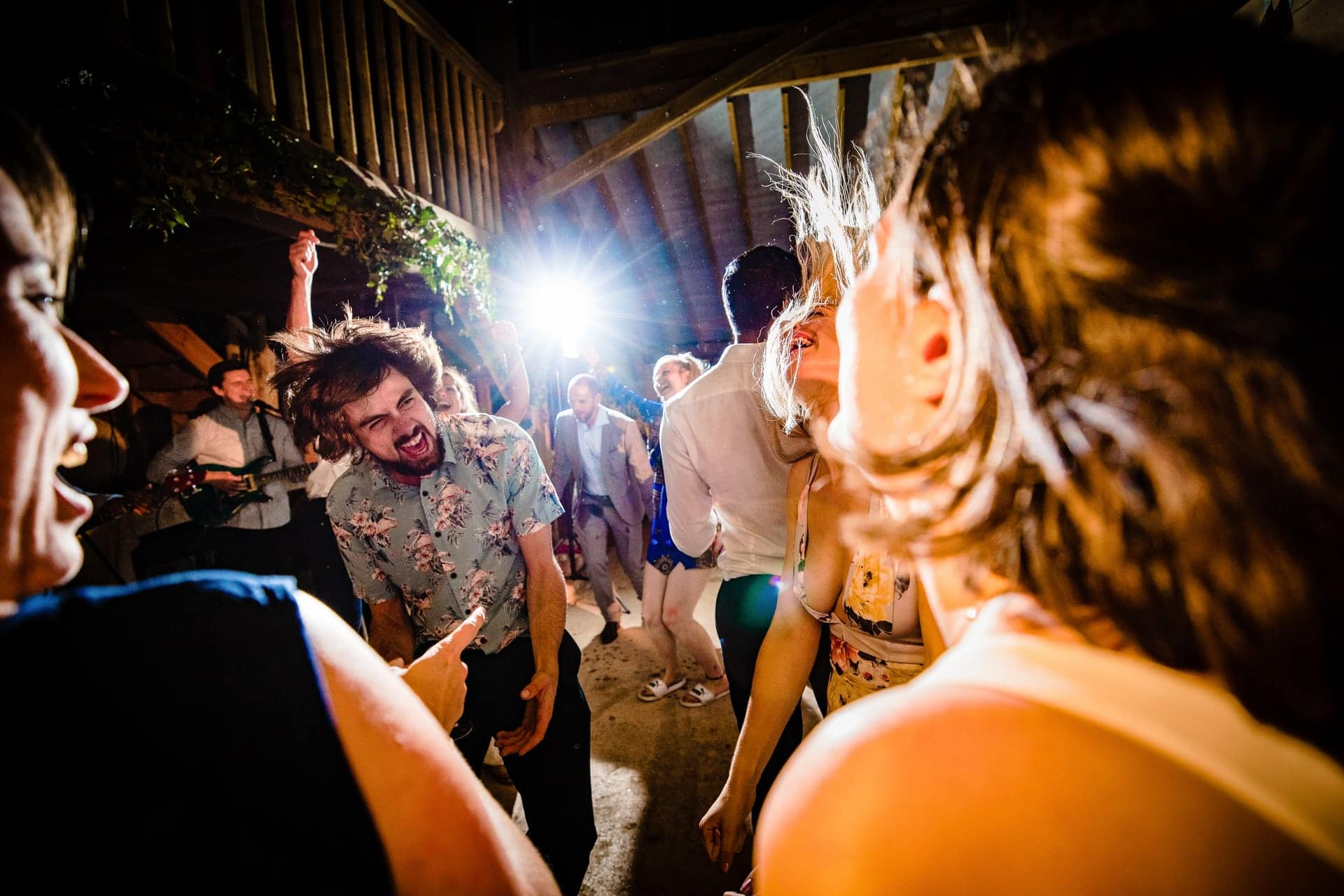 barn wedding headbanging