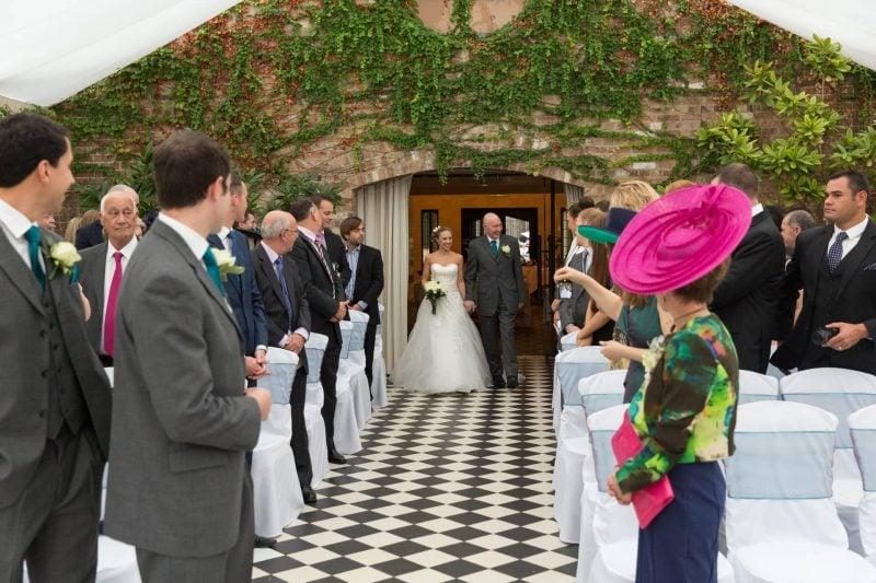 wedding procession hanbury manor