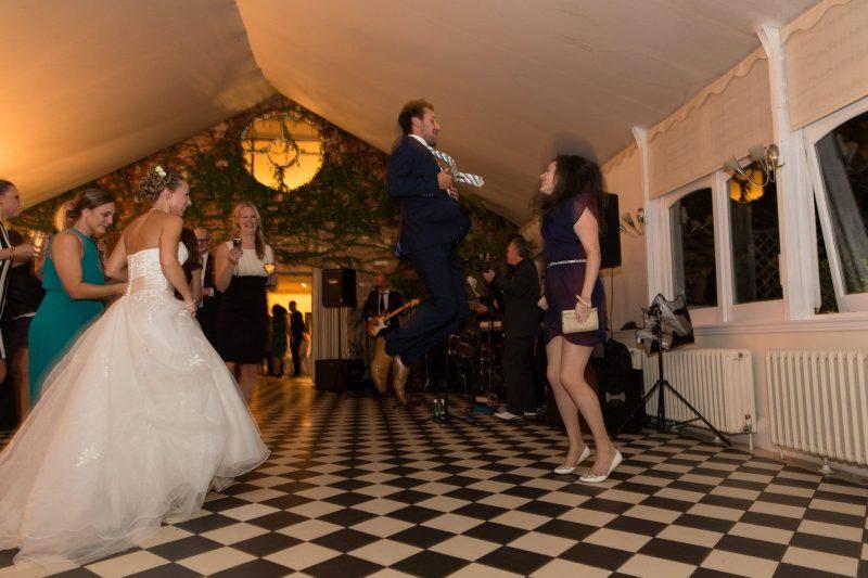 jumping wedding guest