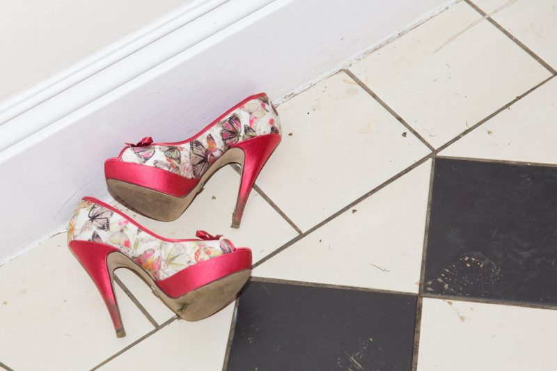 discarded wedding shoes dancefloor