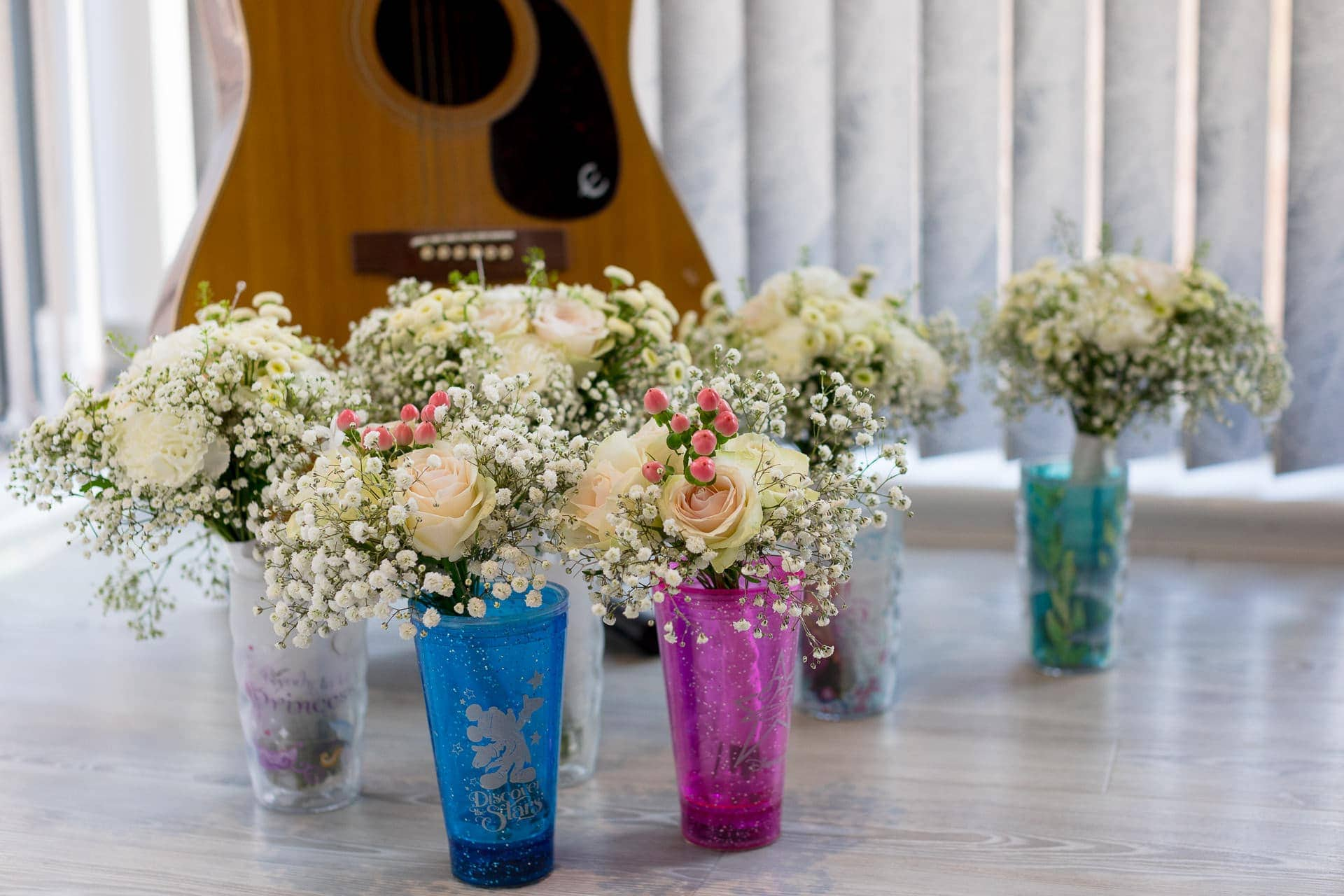 wedding flower bouquets and guitar