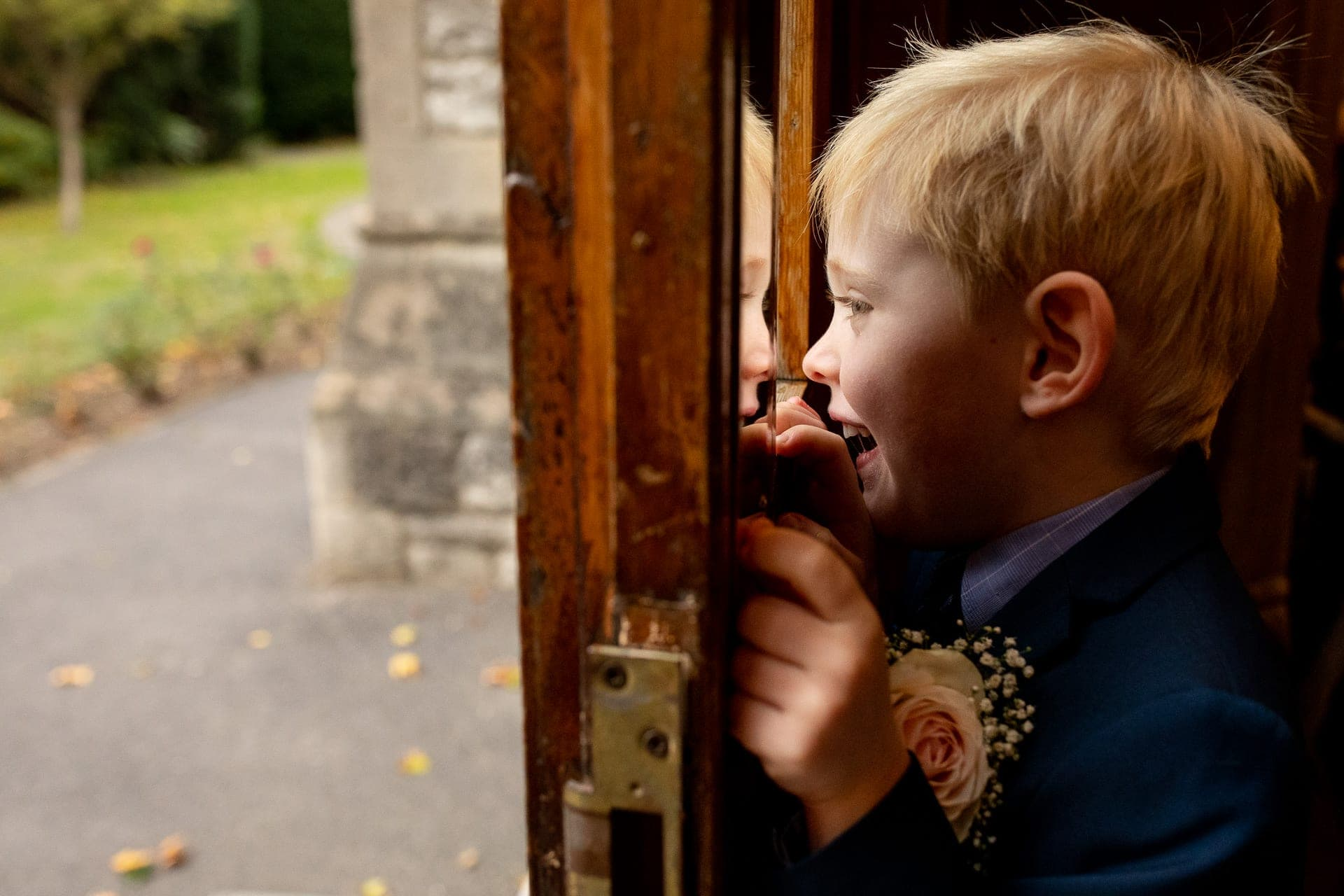 excited boy church wedding